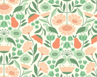Victorian Afternoon Pink Salmon - Park Life - Elizabeth Olwen - Cloud 9 Organic Cotton
