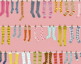 Socks Pink - Paint the Town - Striped Pear Studios - ORGANIC Cotton - Windham Fabrics 50367-4 - You choose the Length