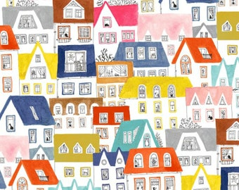 Paint the Town - Striped Pear Studios - ORGANIC Cotton Windham Fabrics 50364-X - You choose the Length