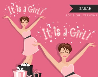 Brunette Pregnant Woman Character Clipart. It is a boy, girl. Baby Shower Party. Baby Announcement Invitation Illustration
