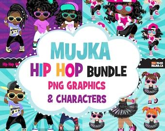 Hip hop Clipart Bundle, Music, dance, birthday t-shirt for black, boy, girl graphics Sublimation Designs digital download PNG clip art