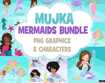 Mermaid Clipart Bundle, Under sea animals, mermaids, black mermaid, rainbow sirens Png sublimation clip art Sublimation Designs graphics