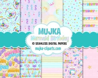 Mermaid Birthday Digital papers, seamless pattern, digital paper pack, printable pattern, digital background, birthday party papers