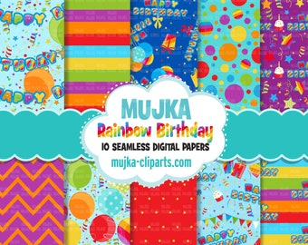 Rainbow Birthday Digital papers, seamless pattern, digital paper pack, printable pattern, digital background, birthday party papers