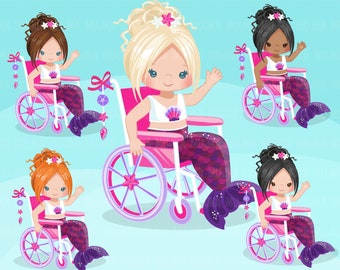 Special Needs Wheelchair clipart, Mermaid princess clipart, disability, characters, black,  , disable, handicap