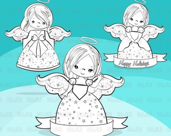 Christmas Angels Digital Stamps Noel Illustrations Outline Coloring Line Art Holiday Nativity Digitized Embroidery Bw Graphic
