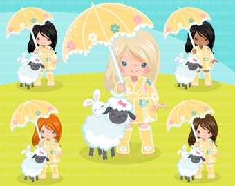 97d5ba618 Spring girl with lamb and bunny Clipart. Cute spring illustration, little  girl Easter animals egg hunt characters, commercial use, umbrella