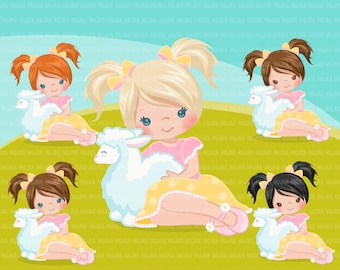 947eb0d7a Easter girl with lamb Clipart. Cute spring illustration, little girl Easter  animals egg hunt characters, commercial use, scavenger hunt,
