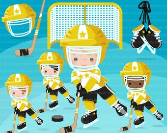 Hockey clipart. Sport graphics, boy hockey player character, planner sticker, commercial use, scrapbooking, stanley cup, school, yellow team