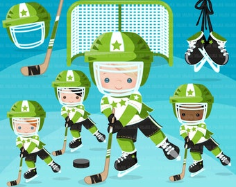 Hockey clipart. Sport graphics, boys hockey player character, planner sticker, commercial use, scrapbooking, stanley cup, school, green team