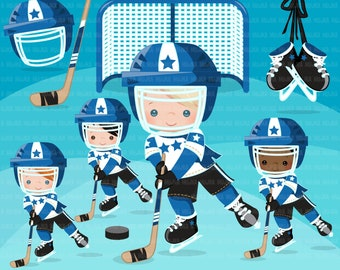 Hockey clipart. Sport graphics, boys hockey player characters, planner sticker, commercial use, scrapbooking, stanley cup, school, blue team