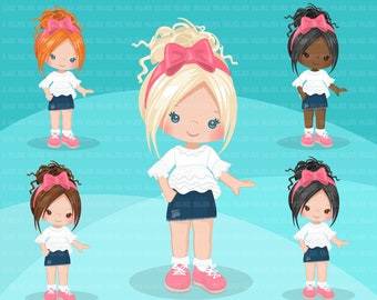 Little girl cute outfits clipart. Girls with jean shorts & ruffled top birthday, school, toddler fashion graphic. Commercial use design, art