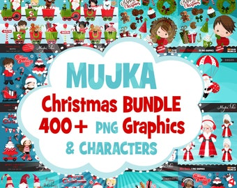 50% off SALE Christmas Clipart Bundle. Noel Illustrations, commercial use graphics. Digital characters