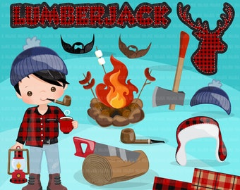 Lumberjack Clipart. Cute lumberjack characters and matching plaid pattern elements. Woods, antler, camp fire and Lumber graphics, commercial