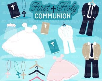 First Holy Communion Clipart. Communion outfit graphics, bible, rosary, banner, holy, religious, cross,  , Sublimation Designs
