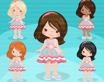 Little girl cute outfits clipart. Girls with ruffled dress birthday, school, toddler fashion graphics. Commercial use design, art, dress