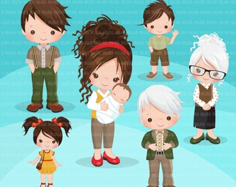 Family portraits clipart. Christmas portraits, mom, dad, grandparents, baby and kids collection brunette family graphics, commercial use