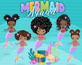 Mermaid clipart, rainbow mermaid sublimation graphics, black mermaid princess, mermaid squad birthday party, afro girl PNG clip art