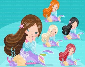 Mermaid clipart, pastel mermaid graphics, card making,  , mermaid princess, birthday party, favors, toppers, clip art