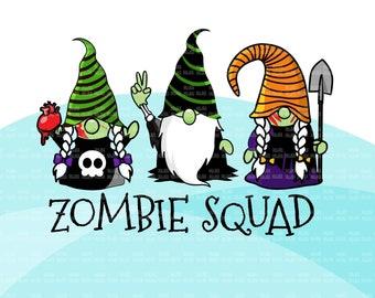 Zombie gnome, zombie squad png, zombie squad clipart, Halloween png, Halloween gnomes png, zombie sublimation digital designs, zombie shirt
