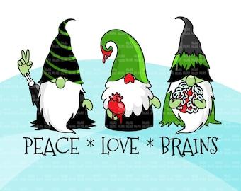 Zombie gnome, zombie clipart, peace love brains, peace love zombie, Halloween png, Halloween gnomes png, zombie sublimation digital designs