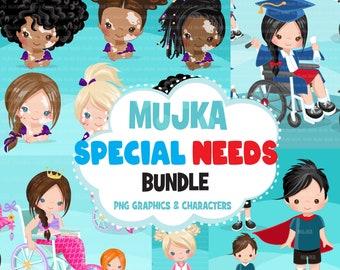 Special needs clipart Bundle, vitiligo kid, wheelchair clipart, disability clipart, special children graphics, sublimation designs, kids png