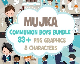 Boys First Communion Clipart Bundle, Holy First communion for boys religious clip art Sublimation Designs graphics