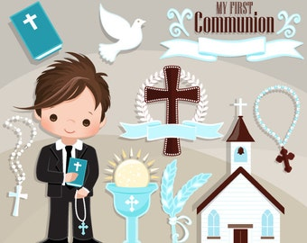 First Communion Clipart for Boys. Cute Communion characters, graphics, bible, church, rosary, communion graphics