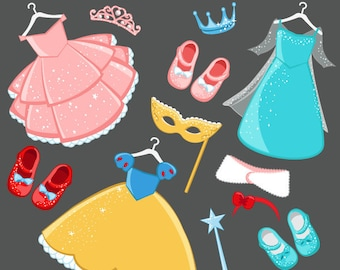 Princess Costumes Clipart with cute matching dress up accessories Instant Download Princess Costume Graphics.