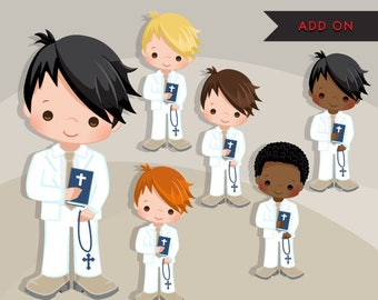 First Communion Clipart for Boys Add On. Cute Communion characters, graphics, white clothing. Bible, rosary, religious, black
