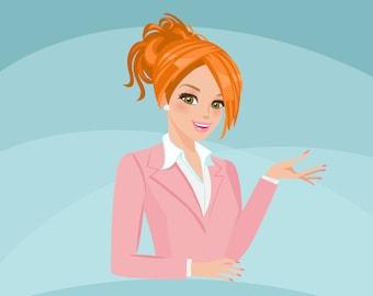 Business owner, shop owner Avatar Design. Red Blonde character graphics, business, blog header, woman illustration, design, pink suit, girl