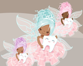 Tooth Fairy clipart. Cute fairy character graphics, angel wings, party printables, digitized embroidery, planner stickers, african american