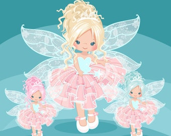 Pink Fairy clipart. Cute fairy character graphics, angel wings, party printables, digitized embroidery, planner stickers, chore charts, art