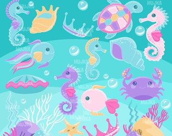 Mermaid undersea clipart, pastel sea animal graphics, sea turtle, seahorse, crab, seaweed, fish, starfish, Sublimation Designs PNG clip art