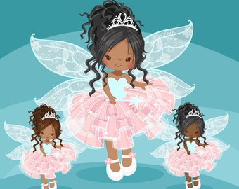 Pink Fairy clipart. Cute fairy character graphics, angel wings, party printables, digitized embroidery, planner stickers, african american