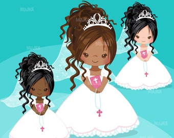 Pink First Communion Clipart for Girls. Holy Communion character, graphics, bible, rosary, veil. black, religious, afro, art