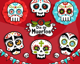 Day of the Dead Clipart. Sugar skulls clipart, Día de Muertos, Mexican holiday graphics, skull banner, day of the dead frame.