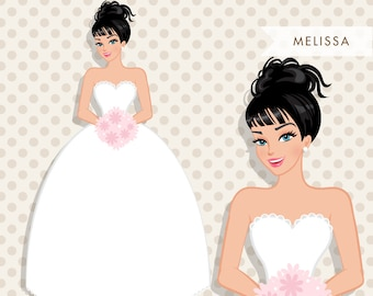 Brunette Bride Clipart. Bride to be wedding clipart, character illustration, wedding invitation clipart, blonde woman, wedding gift