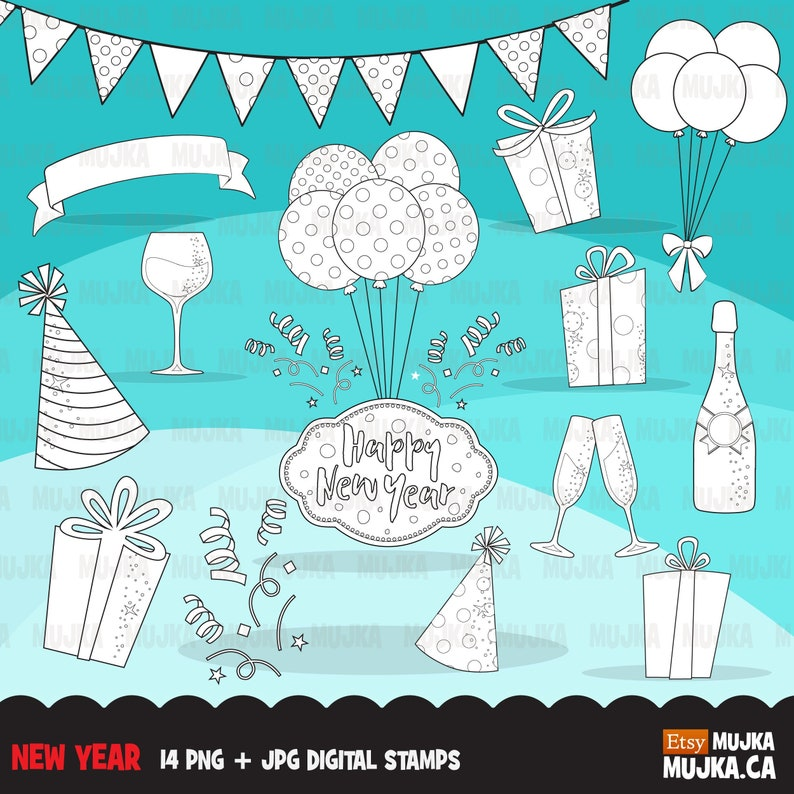 B/&W bunting banner decorations New year Digital Stamps champagne Celebration graphics gift bags scrapbook coloring outline art