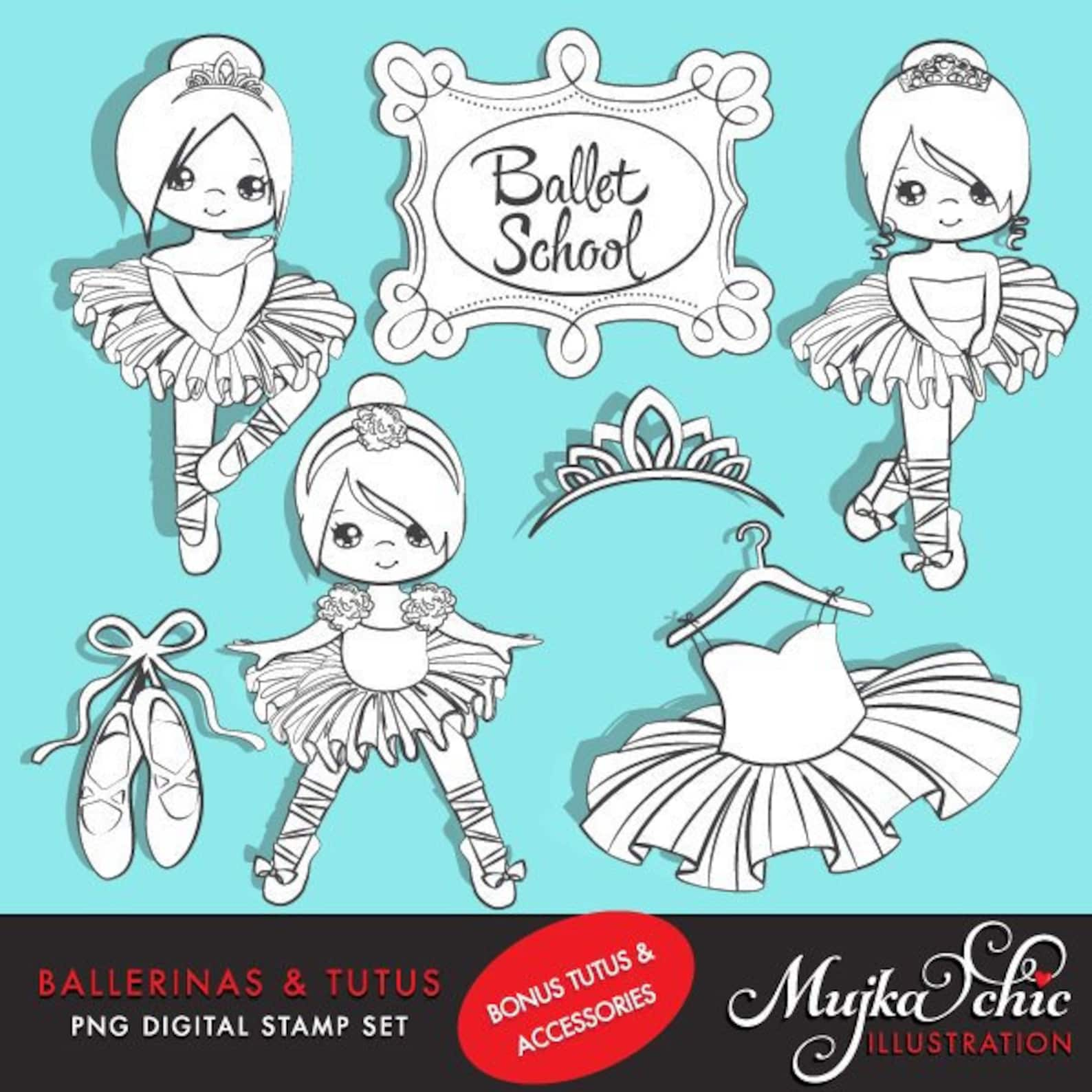 ballerina digital stamps with cute characters, tutus, ballet shoes, outline coloring art, dancers, b&w graphics, commercial use