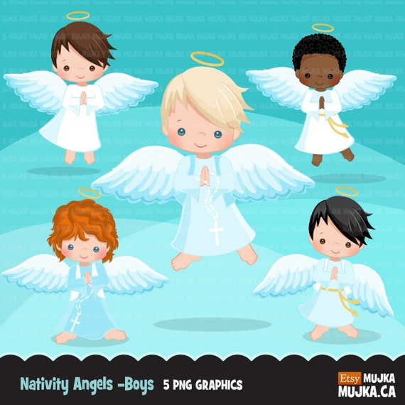 Nativity angel boys clipart. Cute angel graphics with ...