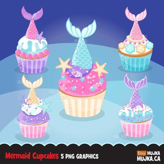 Mermaid Cupcake Clipart Mermaid Tail Baking Cake Graphics Card