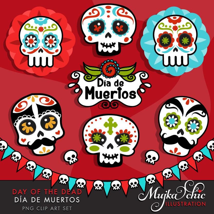 Day of the Dead Clipart. Sugar skulls clipart Día de Muertos | Etsy