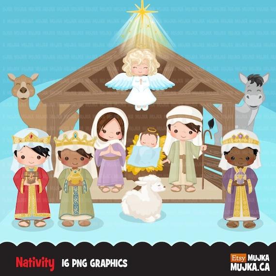 Nativity Clipart. Cute religious illustration, Bible ...