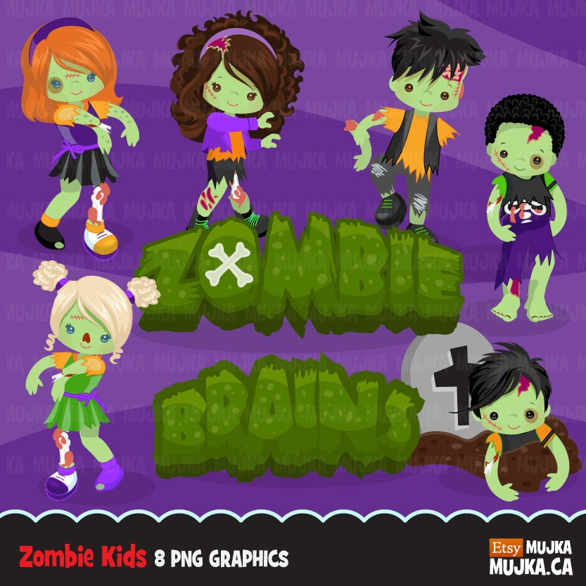 Halloween zombie kids clipart. Cute zombies grave rip | Etsy