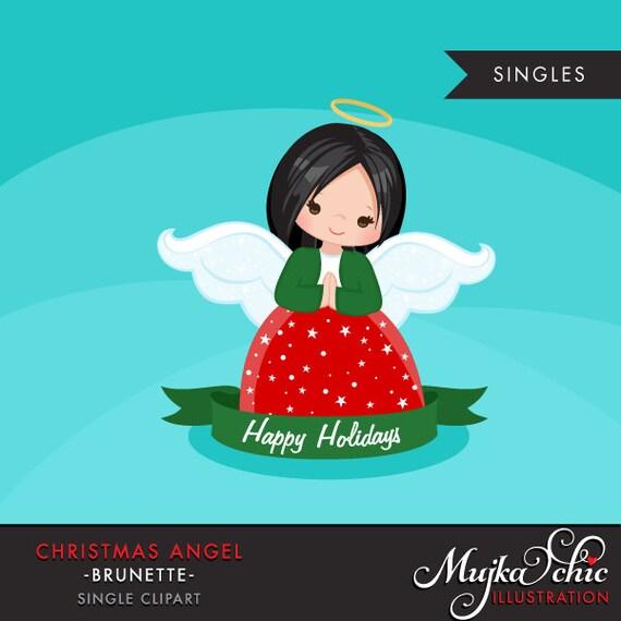 Christmas Angel Clipart.Christmas Angel Clipart 2 Dark Brunette Holiday Ornaments