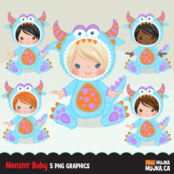 Baby Monster Clipart Animal Costume Baby Shower Graphics Card