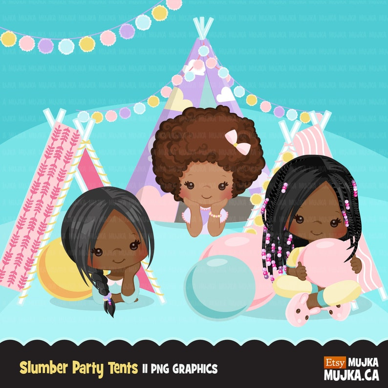 pompoms black Slumber party clipart pajama party card making sleepover pillows embroidery sleepover tents movie night