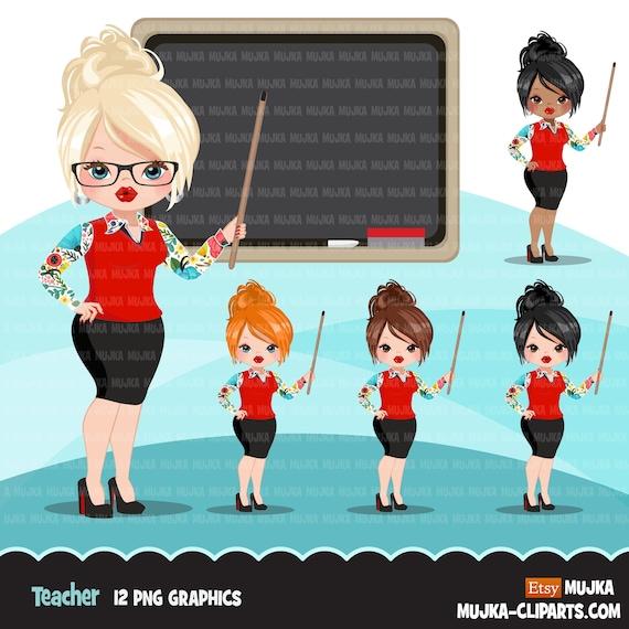 Teacher Avatar Clipart With Blackboard Print And Cut Education Graphics Girl Clip Art School Teaching By Mujka Design Inc Catch My Party