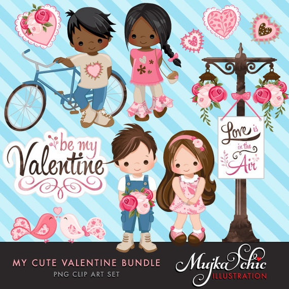 Valentine Clipart And Invitation Bundle With Cute Characters Etsy
